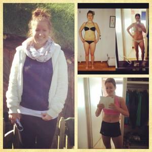 Till vänster: jag våren 2013. Uppe till höger: våren 2014 före och efter insanity. Nere till höger: 6.8.2015, då ja tränar och äter hälsosamt.
